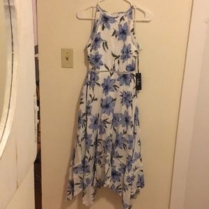 Lulus Blue & White Floral Midi Dress